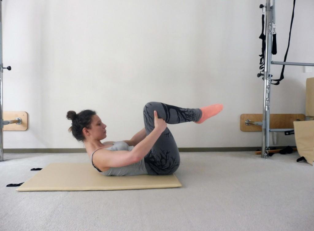 One Leg Stretch: beginpositie